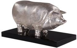 Casa Padrino Luxus Bronzefigur Schwein auf Holzsockel Silber / Schwarz 35 x 17 x H. 19 cm - Versilberte Deko Figur