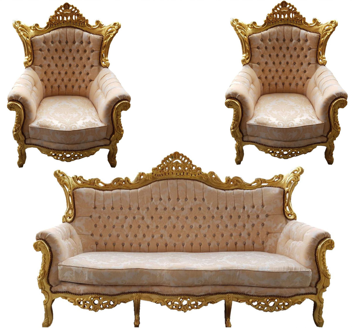 Casa Padrino Baroque Living Room Set Master Cream Pattern / Gold With Bling  Bling Rhinestones