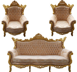 Casa Padrino Baroque Living Room Set Master Cream Pattern / Gold with Bling Bling Rhinestones - 3 seater sofa + 2 armchairs - Limited Edition!