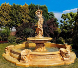 Casa Padrino Barock Springbrunnen Ø 445 x H. 234 cm - Prunkvoller Gartenbrunnen mit Meermuschel Wasserspeier
