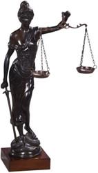 Casa Padrino luxury bronze figure lady of justice on mahogany wood base bronze / dark brown 45 x 25 x H. 80 cm - Luxury Collection