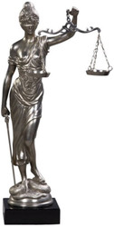 Casa Padrino luxury bronze figure lady of justice on mahogany wood base silver / black 45 x 25 x H. 80 cm - Luxury Collection