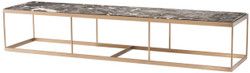 Casa Padrino Coffee Table Gray / Brass 190 x 45 x H. 35 cm - Luxury Stainless Steel Living Room Table with Marble Top