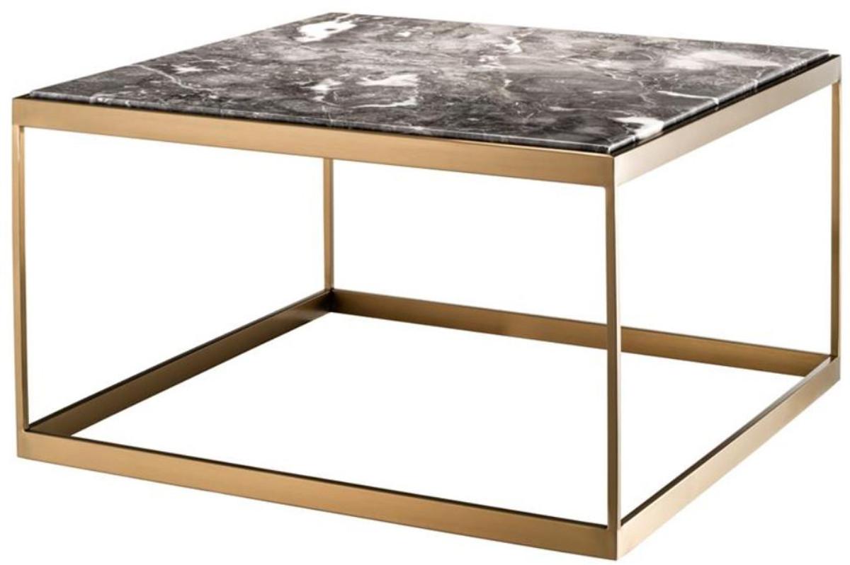 Table D Appoint Casa.Casa Padrino Table D Appoint Gris Laiton 65 X 65 X H 38 Cm Table De Luxe En Acier Inoxydable Avec Dessus En Marbre