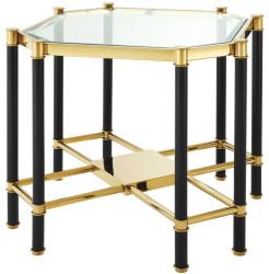 Casa Padrino Luxus Beistelltisch mit Glasplatte Gold / Schwarz 72,5 x 72,5 x H. 55,5 cm - Wohnzimmermöbel