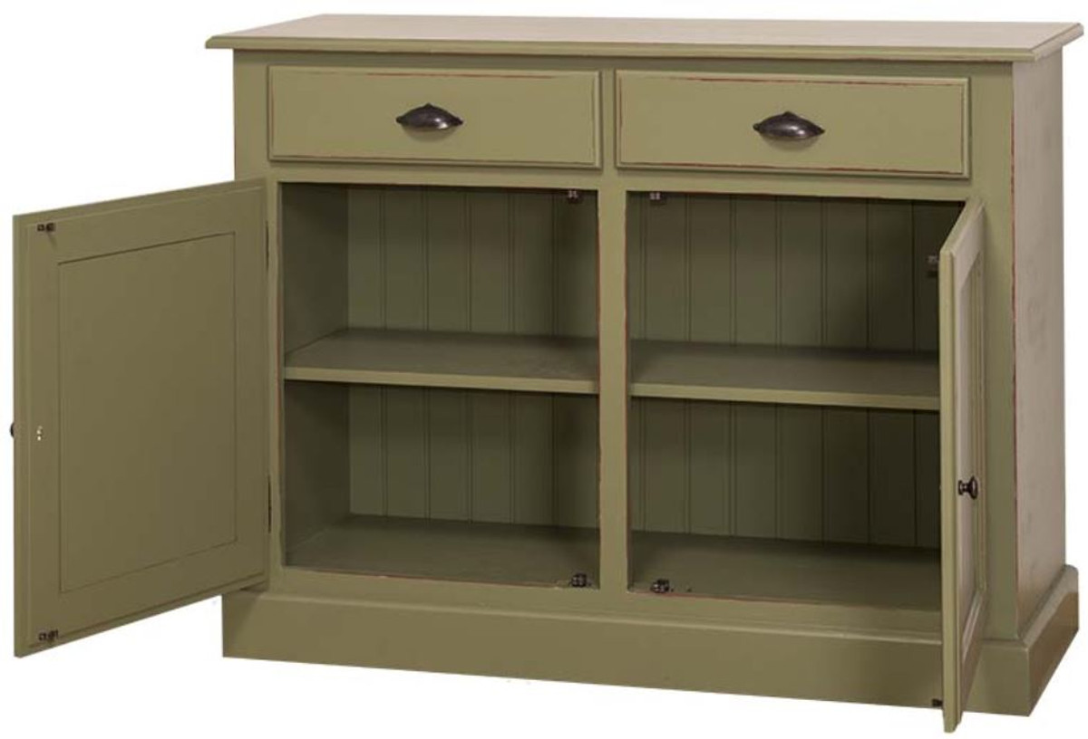 casa padrino landhausstil shabby chic massivholz k chenschrank antik gr n 120 x 45 x cm. Black Bedroom Furniture Sets. Home Design Ideas
