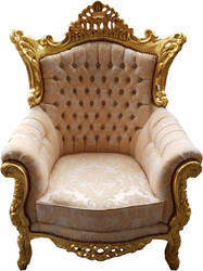 "Casa Padrino Baroque Armchair ""Al Capone"" Mod4 Cream Pattern / Gold Furniture - Antique Style - Limited Edition"