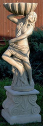 Casa Padrino Art Nouveau Garden Decoration Statue / Figurine Girl with Flowerpot 46 x 43 x H. 156 cm - Decorative Garden Sculpture with Pedestal