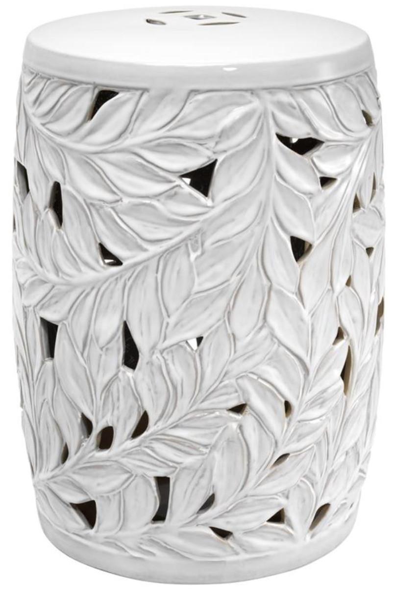 Casa Padrino Keramik Deko Trommel Weiß Ø 34 X H. 48 Cm   Luxus Wohnzimmer  Dekoration