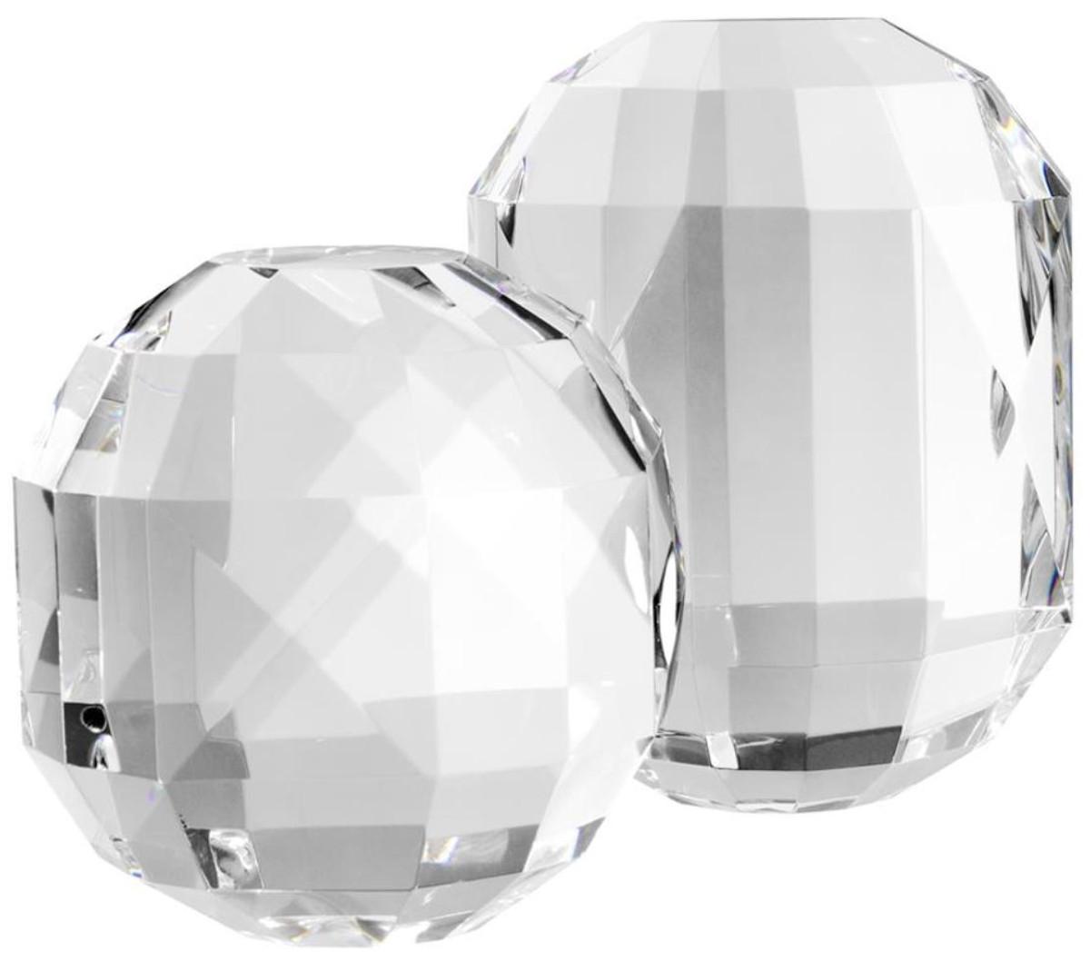 Casa Padrino Luxus Kristallglas Deko Objekte Set   Hotel Restaurant  Wohnzimmer Büro Dekoration