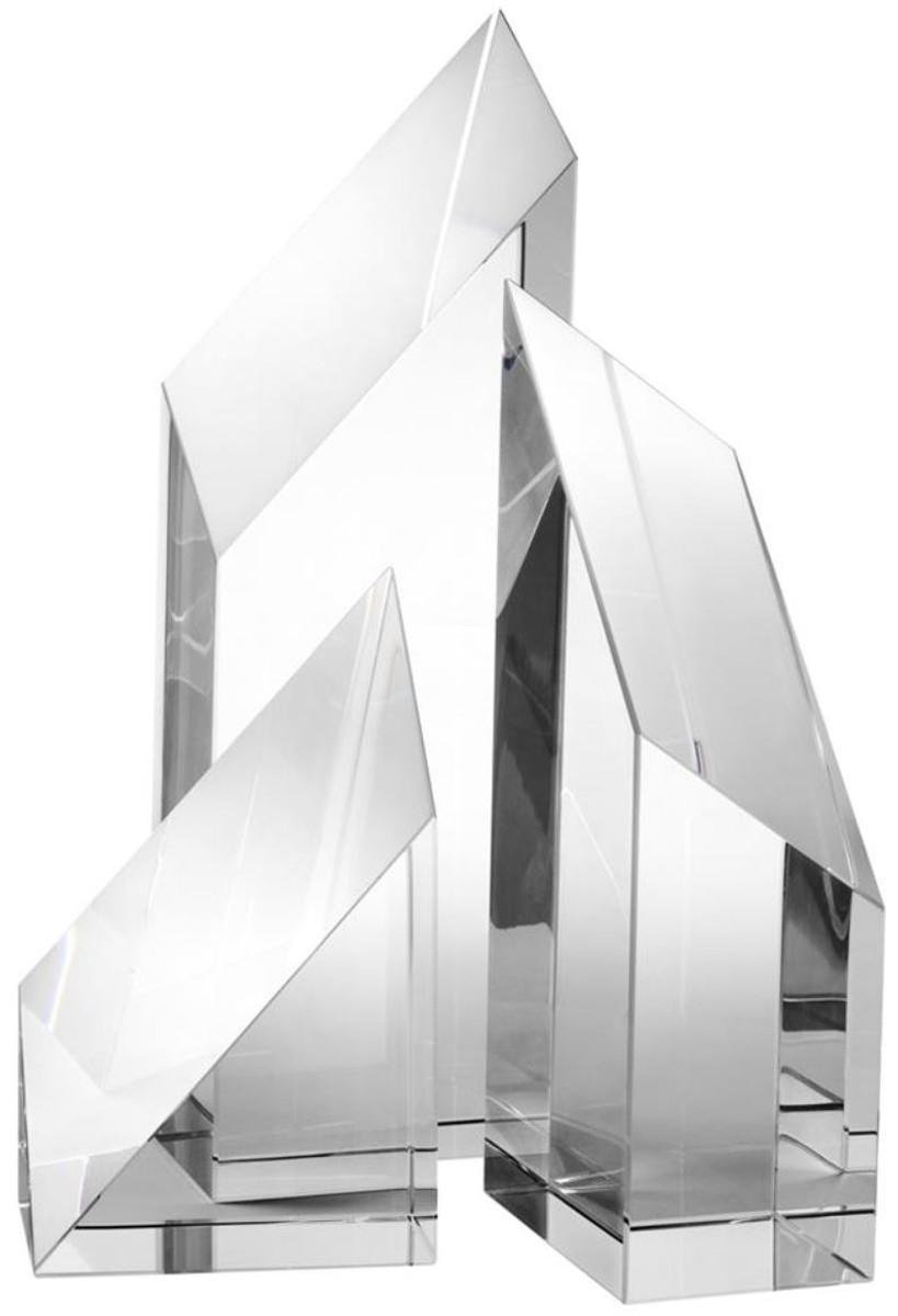 Casa Padrino Luxus Kristallglas Deko Objekte 3er Set   Hotel Restaurant  Wohnzimmer Büro Dekoration