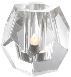 Casa Padrino luxury tealight holder 16 x 16 x H. 15 cm - Crystal glass decoration accessories