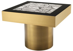 Casa Padrino luxury stainless steel side table with faux marble top brass / high gloss black / gray 65 x 65 x H. 50 cm - Designer living room furniture