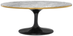 Casa Padrino Luxury Coffee Table Gray / Brass / Black 120 x 60 x H. 50.5 cm - Oval Living Room Table
