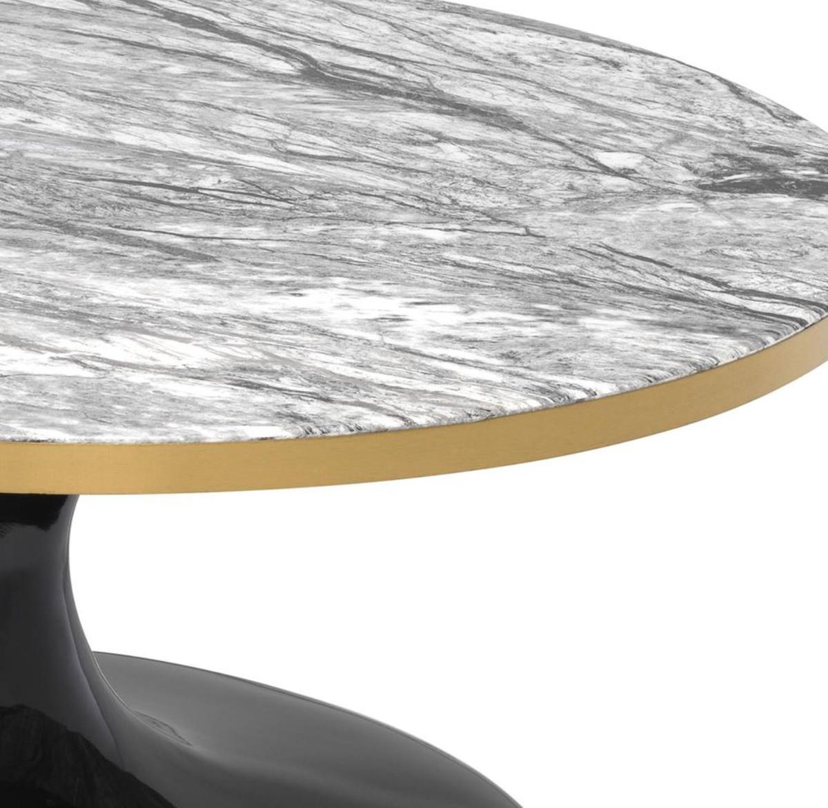 Casa Padrino Luxus Couchtisch Grau Messing Schwarz ø 90 X H 41