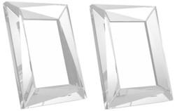 Casa Padrino Luxus Kristallglas Tisch-Bilderrahmen Set 18 x 3,5 x H. 23,5 cm - Luxus Qualität