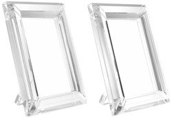 Casa Padrino Tisch-Bilderrahmen Set 16 x 2,5 x H. 21,5 cm - Luxus Kristallglas Deko Accessoires