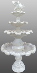 Casa Padrino Art Nouveau Fountain / Garden Fountain Ø 130 x H. 228 cm - Artificial Stone Fountain with Decorative Pigeons