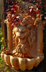 Casa Padrino Baroque Artificial Stone Wall Fountain Lion H. 97 cm - Various Colors - Garden Fountain in Baroque Style
