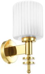 Casa Padrino Luxus Wandleuchte Gold / Vintage Weiß 13 x 18 x H. 28,5 cm - Hotel & Restaurant Wandlampe mit Glas Lampenschirm