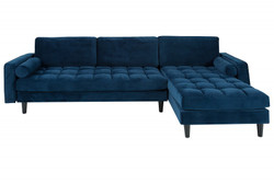 Casa Padrino designer living room sofa dark blue 260 x 83 x H.84cm - corner sofa with 2 cushions