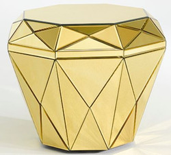 Casa Padrino luxury mirror glass side table / stool gold 55 x 55 x H. 45 cm - Designer Furniture