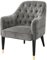 Casa Padrino Luxury Armchair Gray / Black / Gold 65 x 80 x H. 88 cm - Chesterfield Furniture