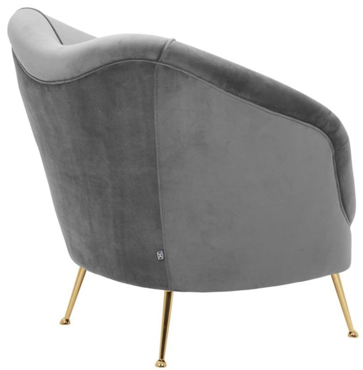 Casa Padrino Luxus Salon Sessel Grau / Messing 85 x 77 x H. 80 cm - Luxus Kollektion 3