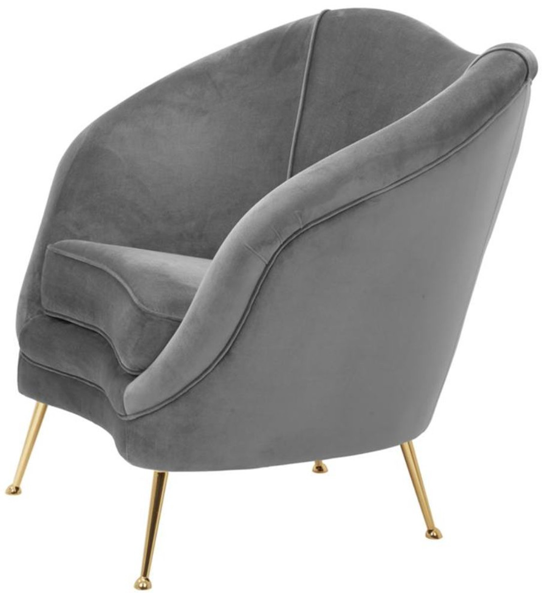 Casa Padrino Luxus Salon Sessel Grau / Messing 85 x 77 x H. 80 cm - Luxus Kollektion 4