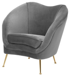 Casa Padrino Luxury Salon Armchair Gray / Brass 85 x 77 x H. 80 cm - Luxury Collection