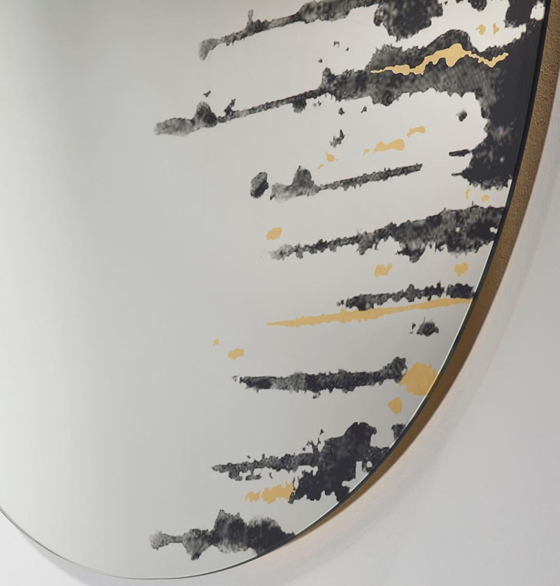 Casa Padrino Designer Wandspiegel Schwarz / Gold 76 x H. 110 cm - Luxus Wohnzimmer Spiegel  2