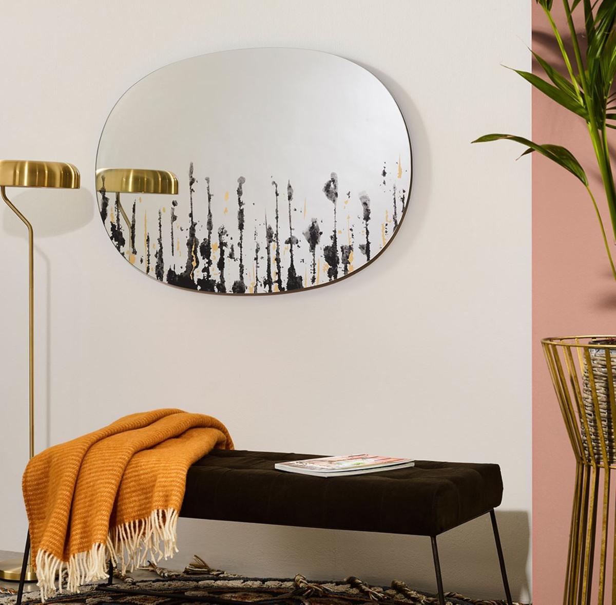 casa padrino designer wandspiegel schwarz  gold 76 x h