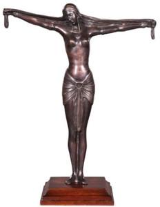 Casa Padrino Luxus Bronzefigur Lady Bronze / Braun 41 x 19 x H. 53 cm - Deko Figur auf Holzsockel