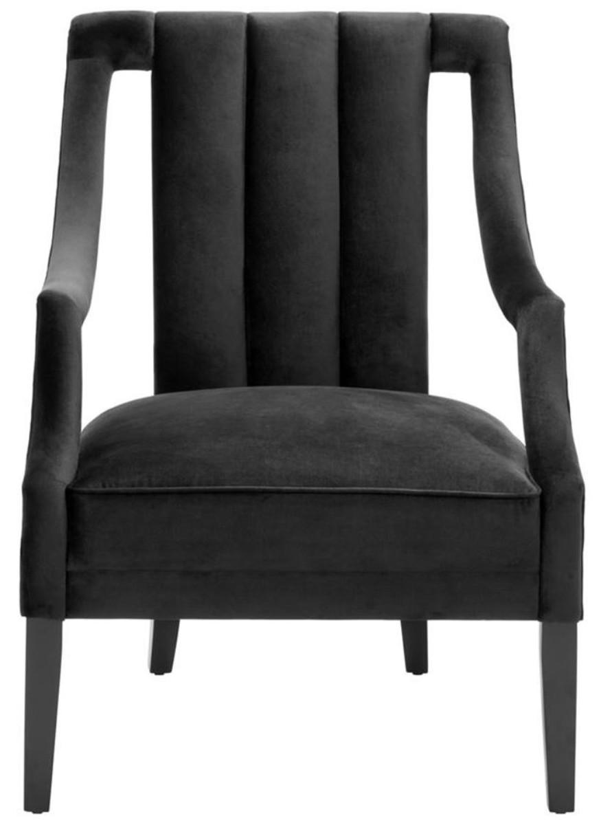 Casa Padrino Luxus Sessel Schwarz 70 x 80 x H. 95 cm - Luxus Qualität 2