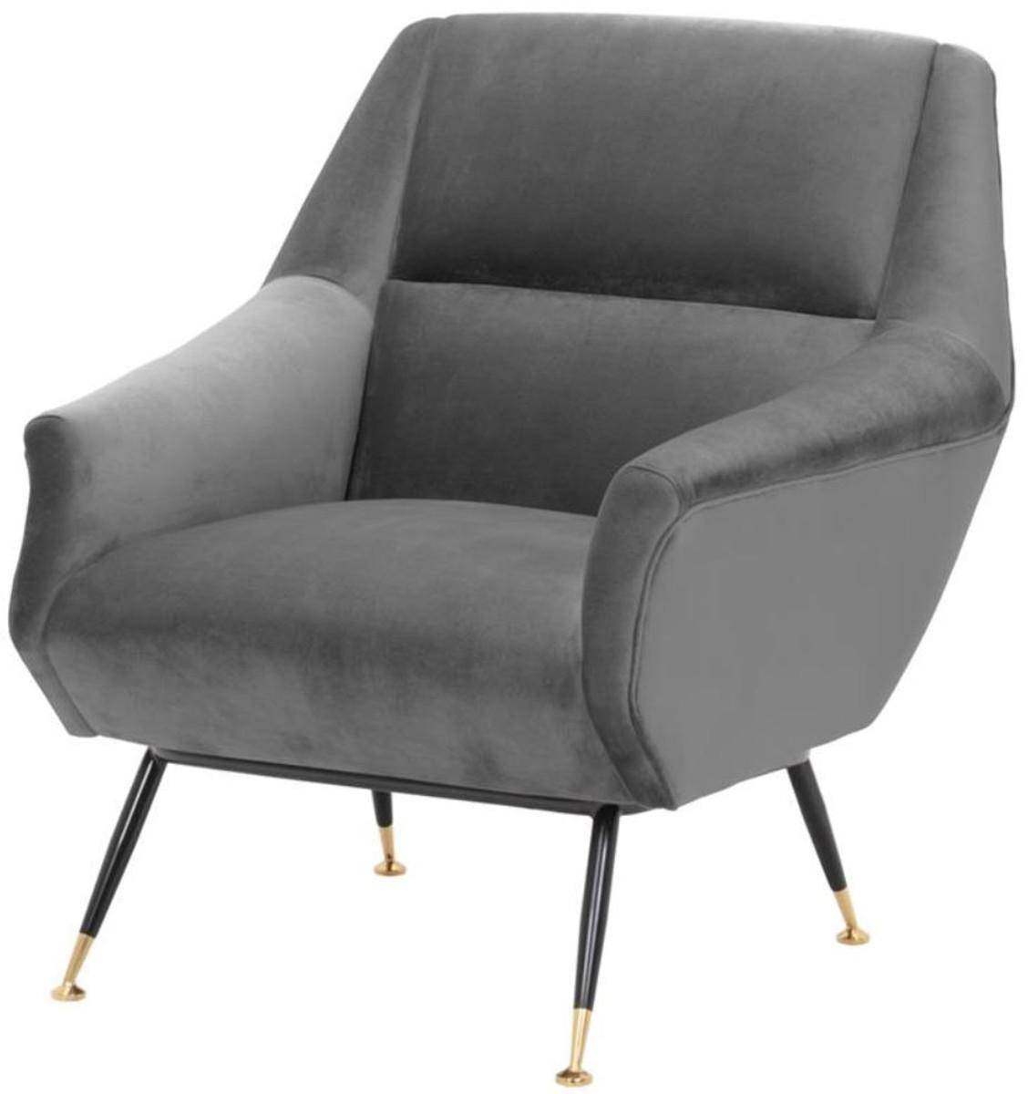Casa Padrino Luxus Salon Sessel Grau / Schwarz / Messing 75 x 75 x H. 78 cm - Hotel Möbel 1