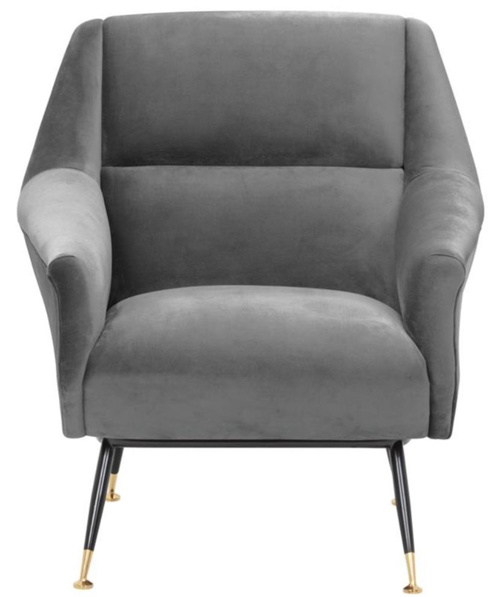 Casa Padrino Luxus Salon Sessel Grau / Schwarz / Messing 75 x 75 x H. 78 cm - Hotel Möbel 2