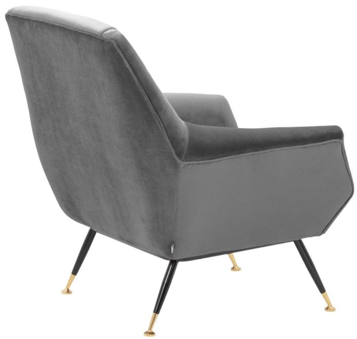 Casa Padrino Luxus Salon Sessel Grau / Schwarz / Messing 75 x 75 x H. 78 cm - Hotel Möbel 4