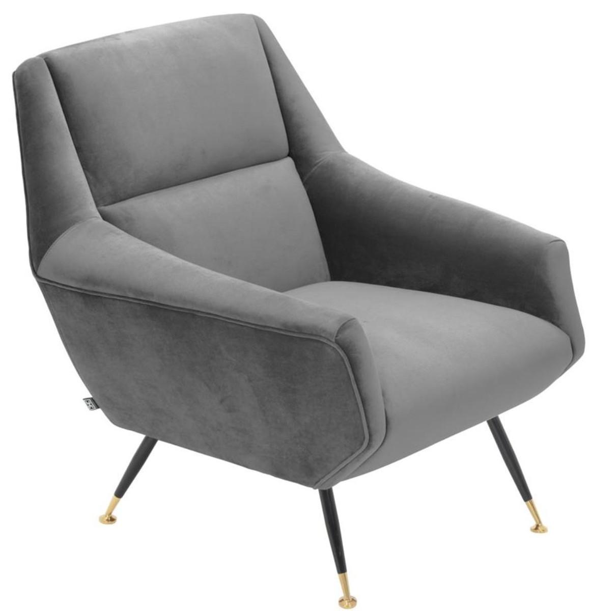 Casa Padrino Luxus Salon Sessel Grau / Schwarz / Messing 75 x 75 x H. 78 cm - Hotel Möbel 5
