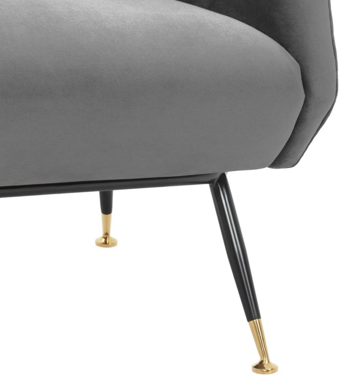 Casa Padrino Luxus Salon Sessel Grau / Schwarz / Messing 75 x 75 x H. 78 cm - Hotel Möbel 6