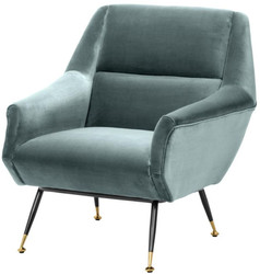Casa Padrino luxury salon armchair dark turquoise / black / brass 75 x 75 x H. 78 cm - Hotel Furniture