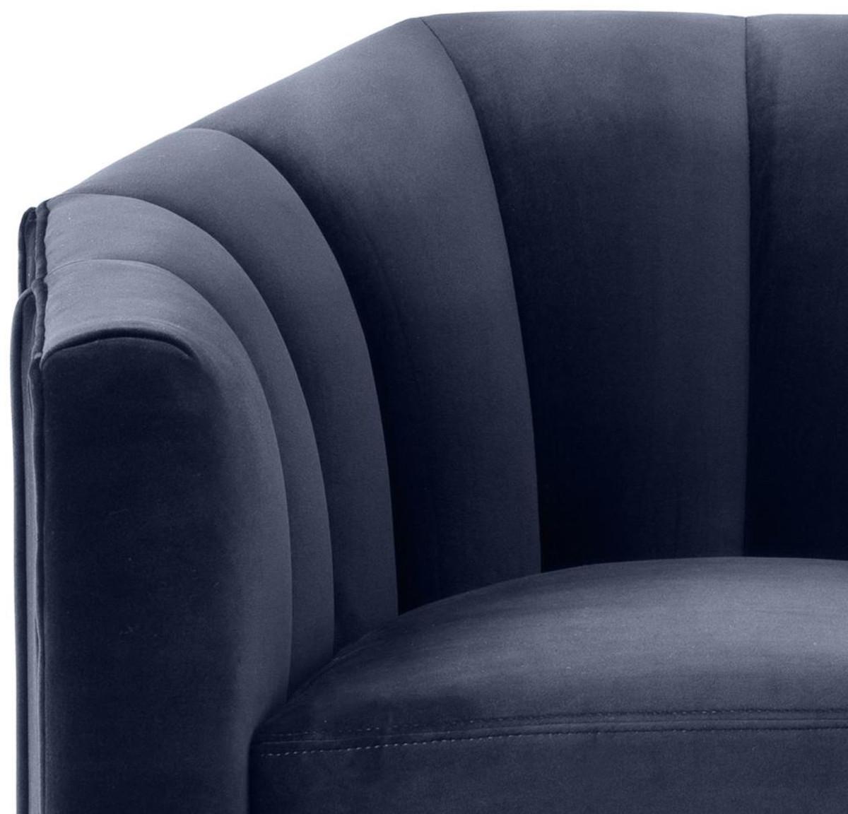 Casa Padrino Luxus Drehsessel Mitternachtsblau 84 x 85 x H. 77 cm - Wohnzimmer Sessel 5