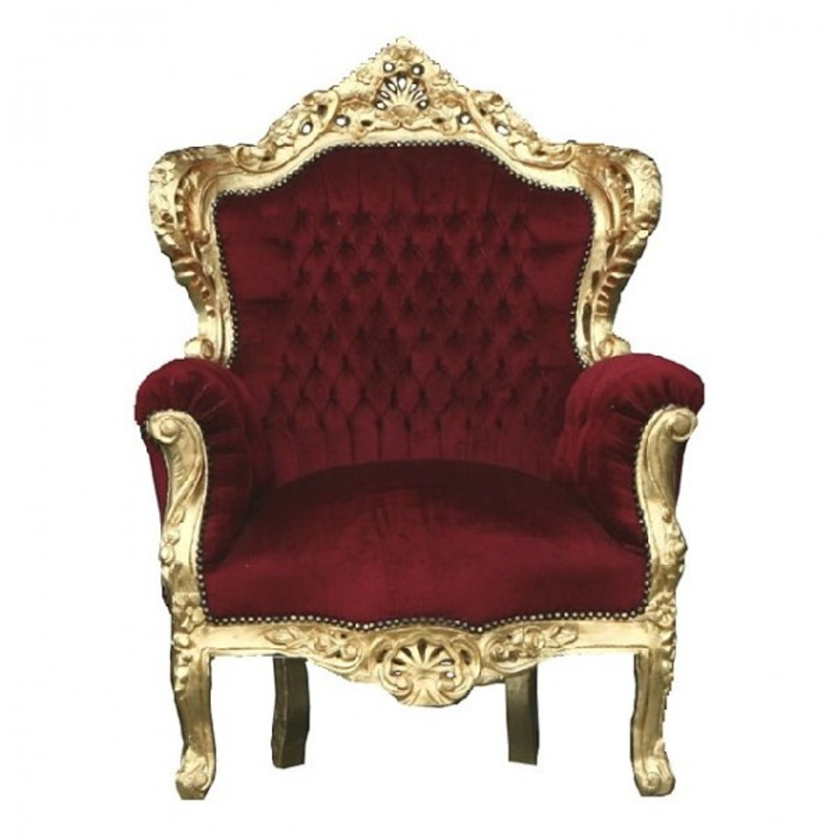 "Casa Padrino Barock Sessel ""King"" Bordeaux / Gold Thron Stuhl 1"