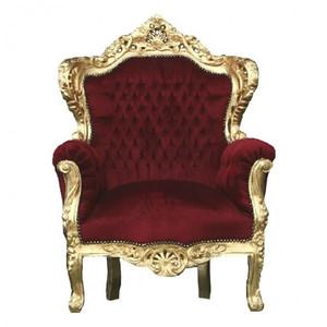 Casa Padrino Barock Sessel  King  Bordeaux / Gold Thron Stuhl