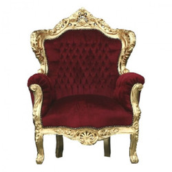 "Casa Padrino Barock Sessel ""King"" Bordeaux / Gold Thron Stuhl"