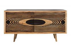 Casa Padrino Designer Sideboard Natur 160 x 45 x H.84- Fernsehschrank - Kommode - Handgefertigt aus massivem Mangoholz!