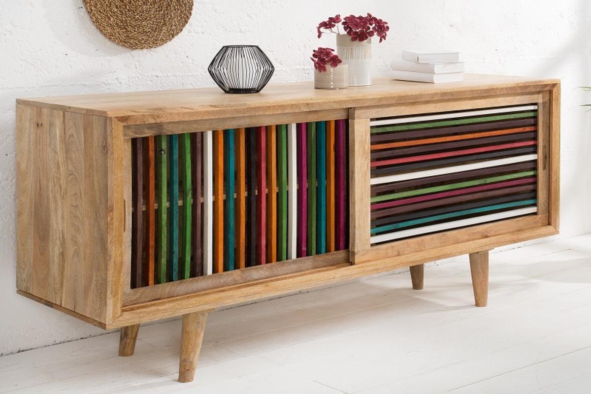 Casa Padrino Designer Sideboard mehrfarbig 160 x 45 x H.84 - Fernsehschrank - Kommode - Handgefertigt aus massivem Mangoholz! 6