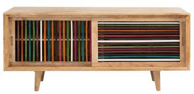 Casa Padrino Designer Sideboard mehrfarbig 160 x 45 x H.84 - Fernsehschrank - Kommode - Handgefertigt aus massivem Mangoholz!