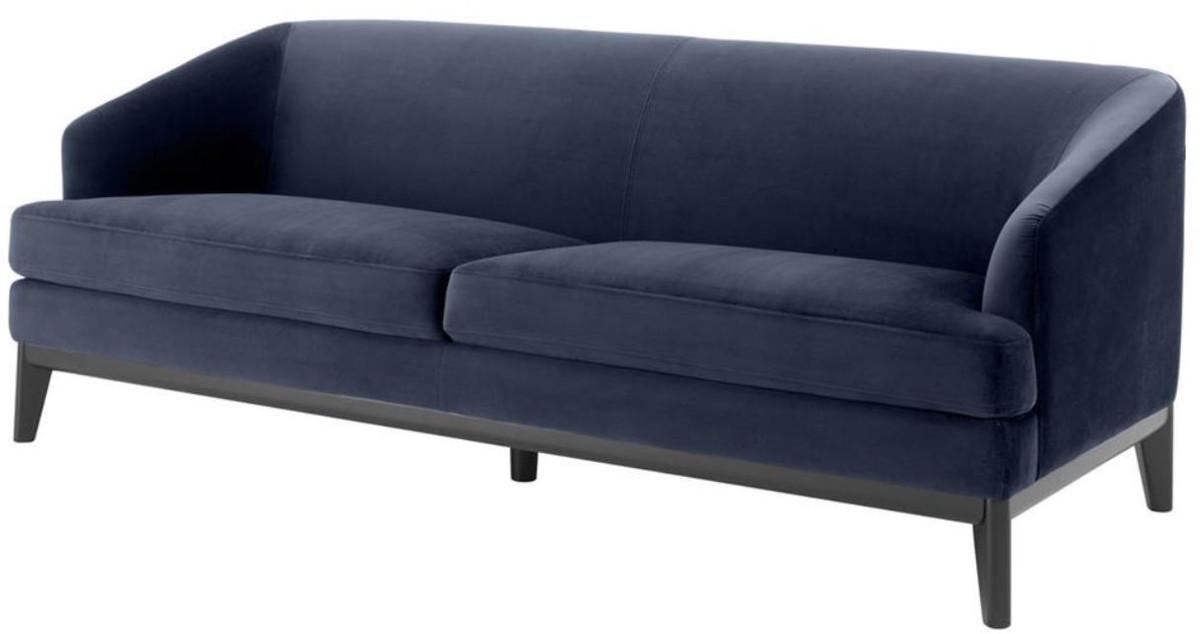 Casa Padrino Luxus Wohnzimmer Sofa Mitternachtsblau / Schwarz 195 X 90 X H.  75 Cm