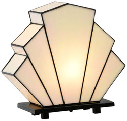 Casa Padrino Luxury Tiffany Fan Table Lamp White / Black 30 x 12 x H. 28 cm - Luxury Quality
