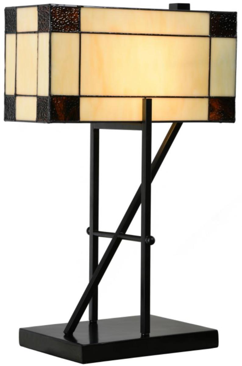 Casa Padrino Luxury Tiffany Table Lamp Beige Black 35 X 21